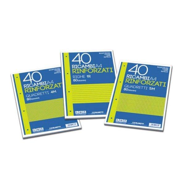 Ricambi rinforzati Blasetti in carta bianca usomano con 4 fori rinforzati in plastica 80 g/m² A4 A  conf.40 - 2336
