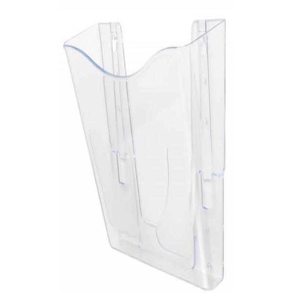 Vaschetta portadocumenti deflecto® A4 verticale in polistirolo con kit di fissaggio a muro trasparente CP078YTCRY