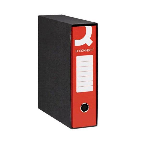 Registratore protocollo Q-Connect con custodia dorso 8 cm rosso 23x33 cm - 0201990/P.RO