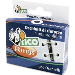 Occhielli di rinforzo Tico in scatola dispenser Ø 13 mm bianco Conf. 500 occhielli - RINGSC-B50