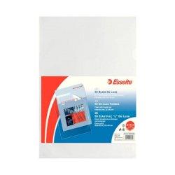 Buste a L non perforate Esselte DE LUXE 22x30 cm trasparente antiriflesso goffrata - conf.50 - 395084000