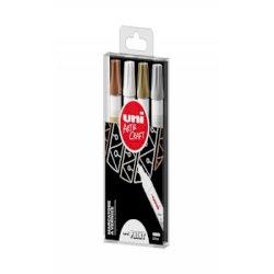 Marcatore permanente a vernice Uni Paint Marker tratto 2,8 mm colori assortiti Conf. 4 pezzi - M PX20S 4P