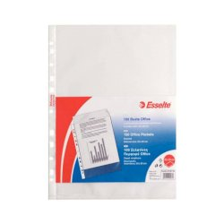 Buste a perforazione universale goffrate Esselte OFFICE PP antiriflesso 22x30 cm conf.100 - 391097100